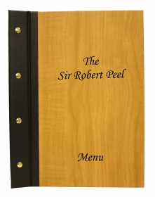 Wood and Buckram menu covers